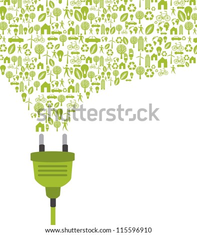 green plug with icons over white background. vector illustration - stock vector