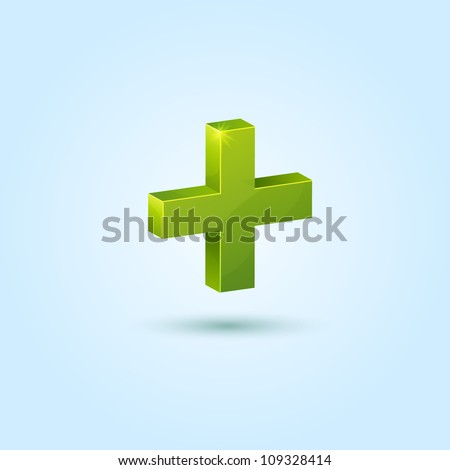 Green plus symbol isolated on blue background. This vector icon is fully editable. - stock vector
