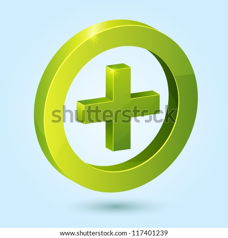 Green plus symbol isolated on blue background. This vector icon is fully editable.