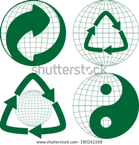 Green point  recycling symbol and Globe - stock vector