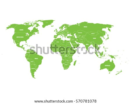 World map vector countries stock images royalty free images green political world map with country borders and white state name labels hand drawn simplified sciox Images