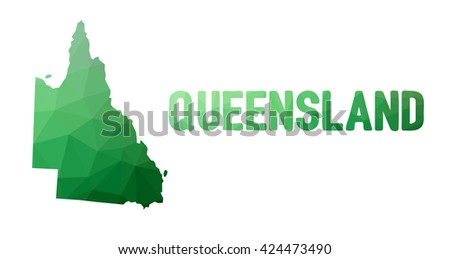 Green polygonal mosaic map of Queensland - political part of Australia, state, QLD; correct proportions - stock vector