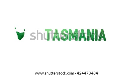 Green polygonal mosaic map of Tasmania - political part of Australia, state, TAS; correct proportions - stock vector