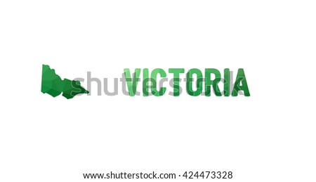 Green polygonal mosaic map of Victoria - political part of Australia, state, VIC; correct proportions - stock vector
