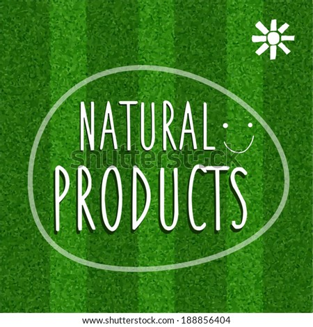 Green poster with grass texture. - stock vector