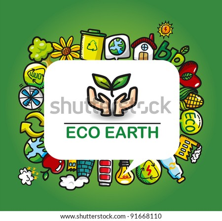 Green Power eco card - stock vector