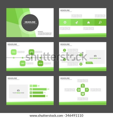 Green presentation template Infographic elements flat design set  - stock vector