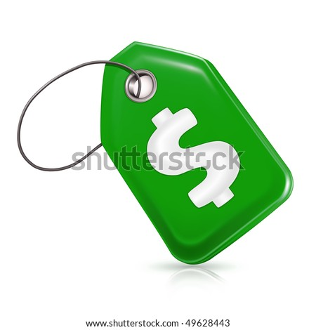 Green price tag with a dollar sign, vector - stock vector