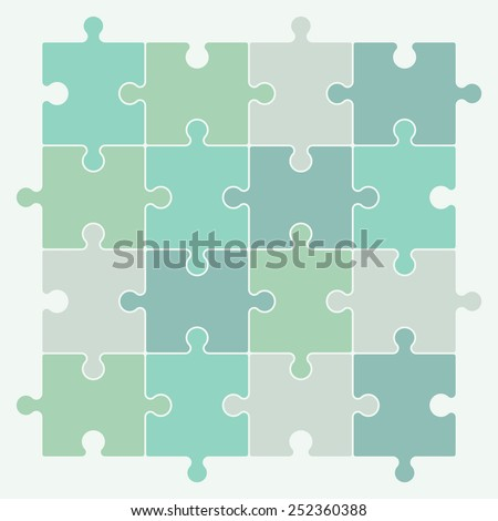 Green puzzle pieces forming a pattern background. Vector illustration graphic.