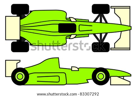 Green racing car - stock vector
