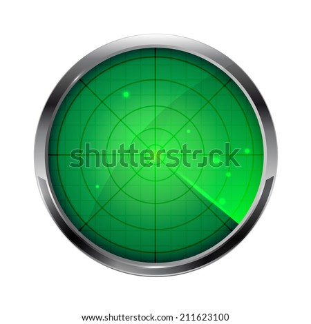 Green radar, circle icon isolated on white background, illustration. - stock vector