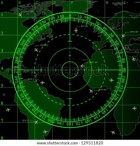 Green radar screen over square grid lines and highly detailed map of the world, vector