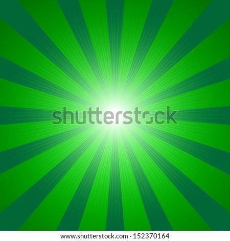 green rays - stock vector