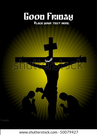 green rays background with jesus in cross, people silhouette