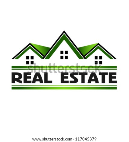 Green Real Estate Houses. Vector icon
