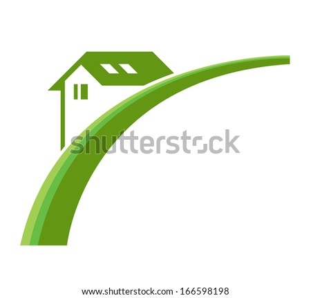 Green real estate icon - illustration