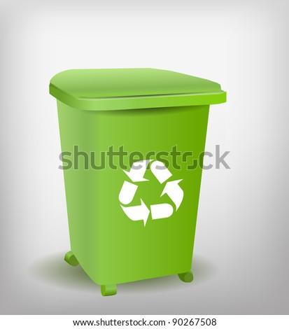 Green Recycle Bin - stock vector