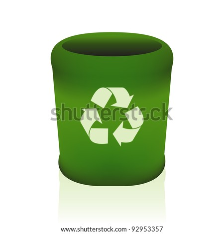 Green recycle bin.