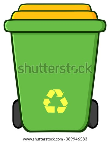 Green Recycle Bin Cartoon. Vector Illustration Isolated On White Background
