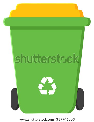 Green Recycle Bin Modern Flat Design. Vector Illustration Isolated On White Background