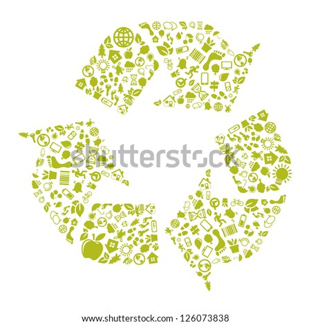 Green recycle icon - stock vector