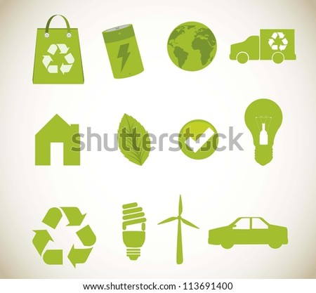 green recycle icons over beige background. vector illustration