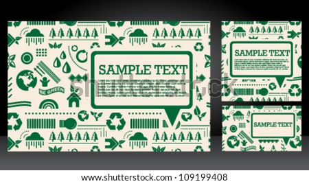 Green recycle icons speech bubble card set - stock vector