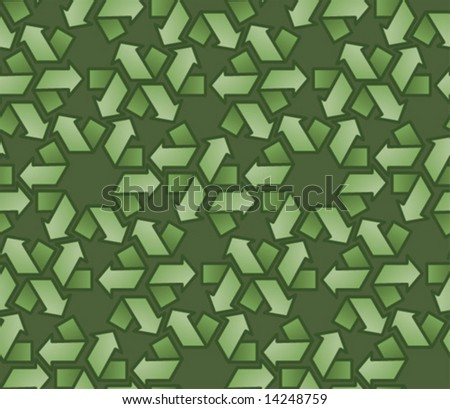 Green recycle symbol background pattern.  Vector illustration.