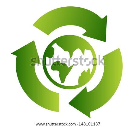 Green recycle symbol with earth