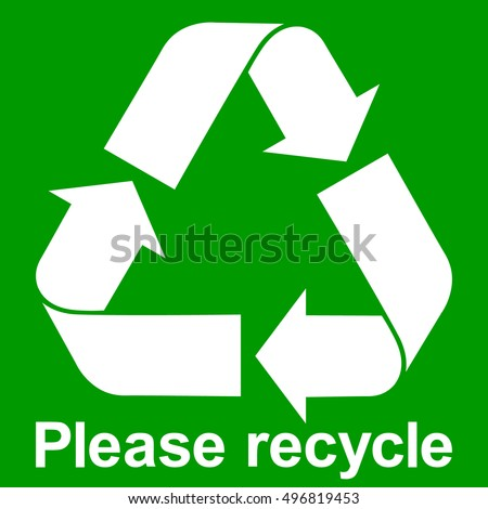 Green Recycle Symbol Text Please Recycle Stock Vector Royalty Free