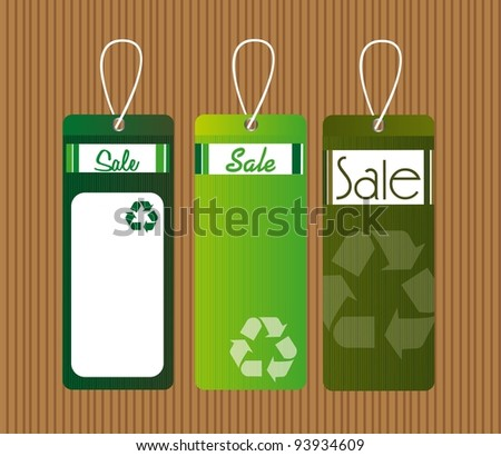 green recycle tags over brown background. vector illustration - stock vector