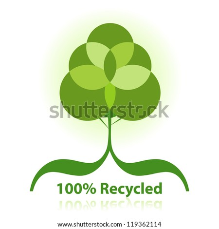 Green 100% Recycled Abstract Tree. - stock vector