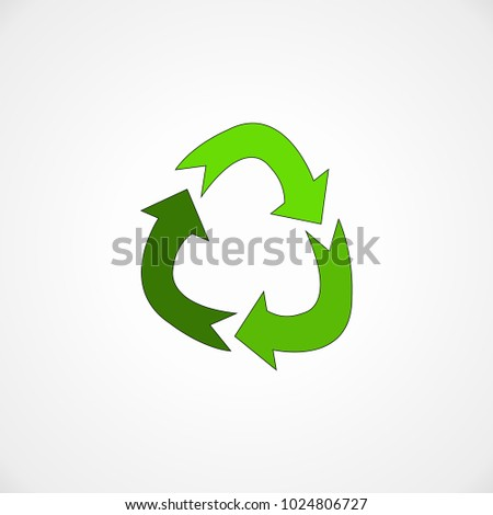 Green recycling icon on white background. Vector