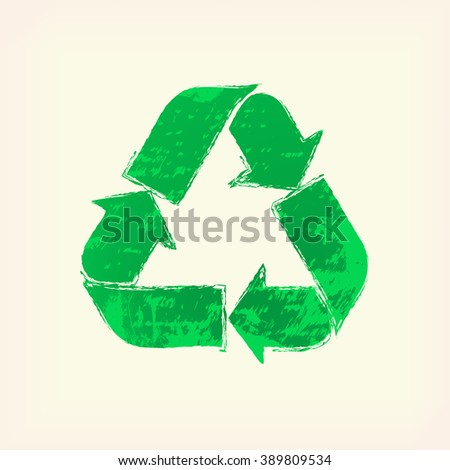 Green recycling sign (icon, symbol), pale yellow background. Painted design element. Watercolor illustration for web or typography (magazine, brochure, flyer, poster).