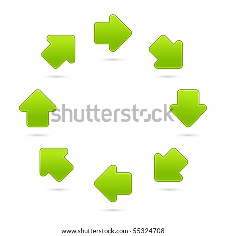Green recycling sign web 2.0 internet button. Matted colorful shapes with shadow on white background