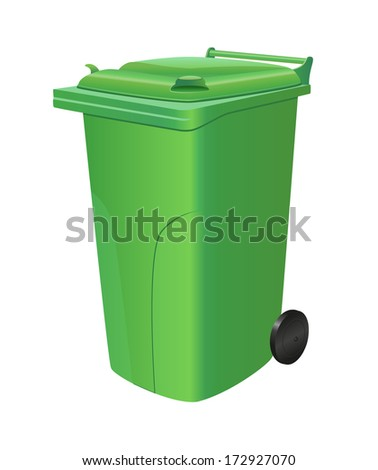 Green recycling trash can isolated