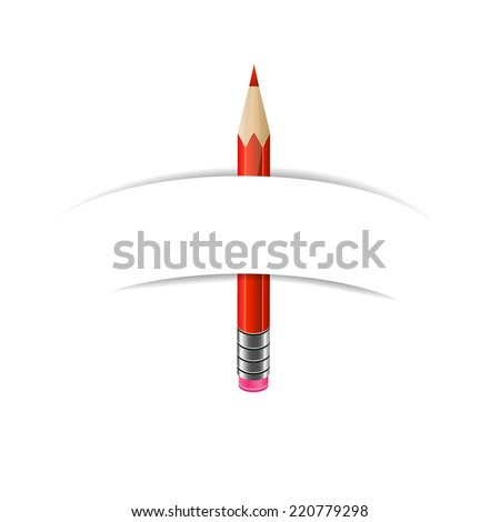 Green, red and blue  pencils and paper banner on white background - stock vector