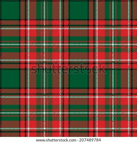 Green,red,black and white tartan traditional fabric seamless pattern or background, Wallpaper, wrapping paper,web backdrop.Retro style.Traditional ornaments for the Christmas and new year.Vector - stock vector
