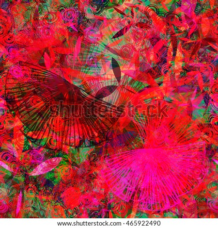 Green, red. Stylized feathers and leaves. Overlap, transparency, overlay, randomly mixed. Floral seamless vector background. For fabric, print, boho design