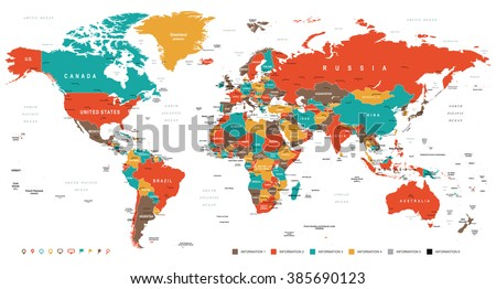 Green Red Yellow Brown World Map Stock Vector HD Royalty Free