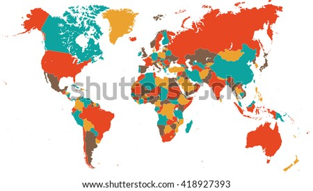 Green Red Yellow Brown World Map - illustration