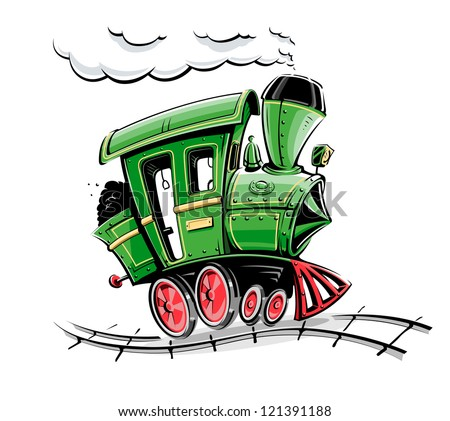 green retro cartoon locomotive vector illustration isolated on white background - stock vector