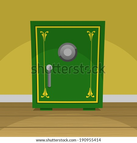 Green retro safe box vector illustration. - stock vector