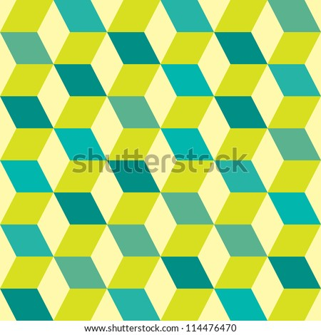 Green retro seventies inspired tile background with box design - stock vector