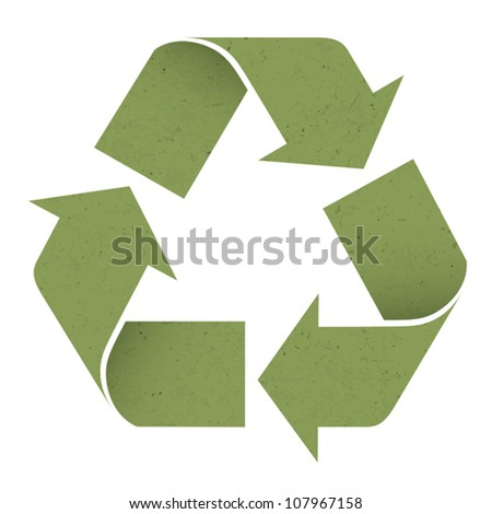 Green reuse symbol, isolated on white. Vector, EPS10 - stock vector