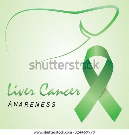 Green Ribbon Liver Outline Liver Cancer Stock Vector Royalty Free