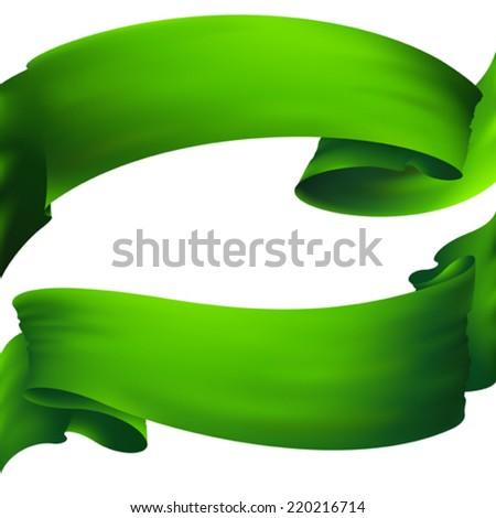 green ribbon banner , vector drawing  - stock vector