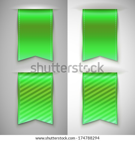 Green ribbon bookmark for books. Set of vector icons on a contrasting background - stock vector