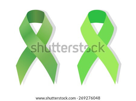Green ribbon Scoliosis, traumatic brain injury, Mental health, cerebral palsy, aging research, Lyme disease, organ transplant and organ donation, kidney cancer awareness, pedestrian safety awareness - stock vector