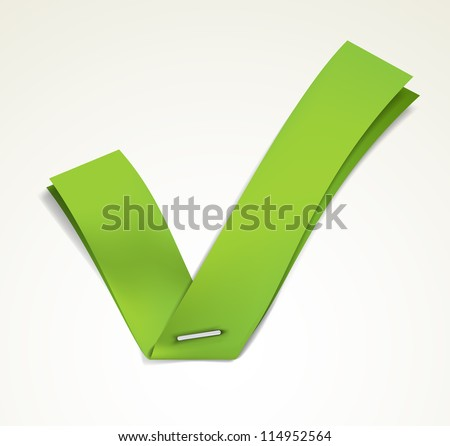 Green ribbon stapled to a white sheet forming a tick. EPS10 vector. - stock vector